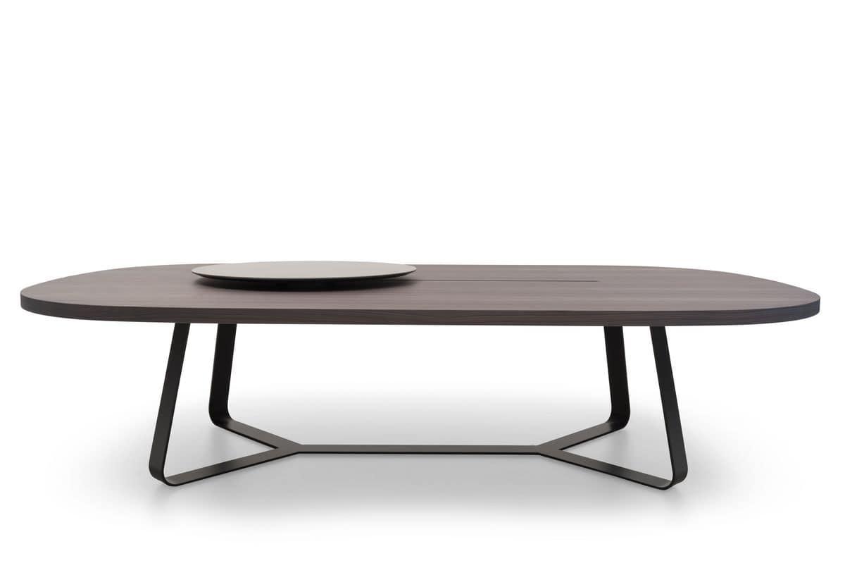 Tavolo Design In Legno Con Vassoio Girevole Ideale Per Ricevimenti Idfdesign