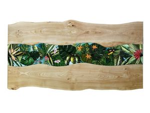 Life Amazzonia, Tavolo con piano legno e pietra lavica