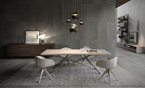 SHANGHAI, Tavolo da pranzo con piano in legno, gambe in tubolare
