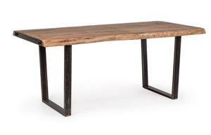 Tavolo Elmer 180X90, Tavolo con piano in legno lavorato a mano