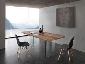 Art. 704VE Bio-Glass, Tavolo con base in vetro, piano in  frassino massello spazzolato