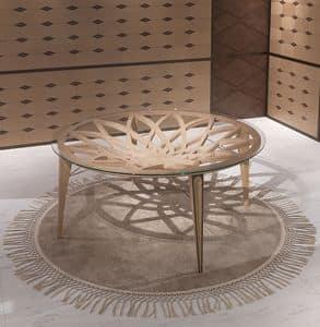 TA63 Galileo tavolo, Tavolo rotondo in legno e vetro, per salotti moderni