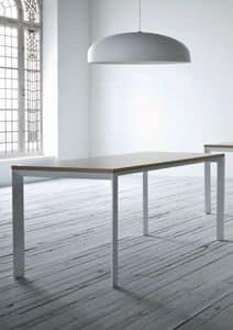 Profilo, Tavolo in metallo verniciato, piano in laminato