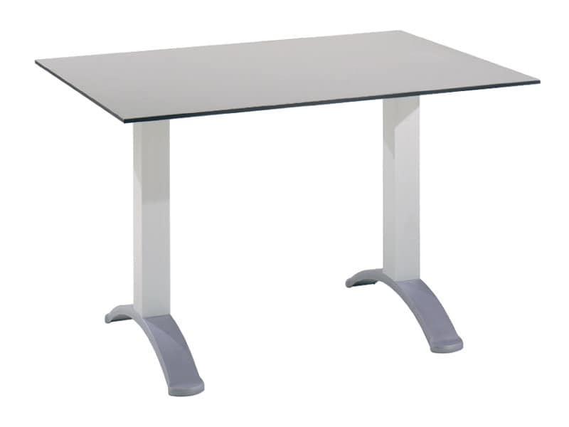 Tavolo 120x80 cod. 07, Tavolino rettangolare con base a 2 colonne in alluminio