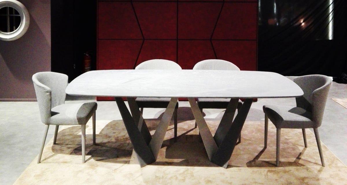 Klee Art. 316-MRV1, Tavolo con doppia base in lamiera decapata