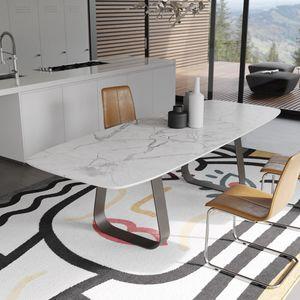MUN marmo, Tavolo con piano in marmo