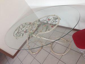 TA-MA01, Tavolo ovale, con base forgiata e dipinta a mano