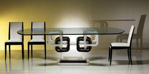 TA39K tavolo, Tavolo ad anelli laccato bianco e nero