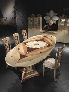 TA40K Dal� tavolo, Tavolo ovale a prezzo outlet, stile classico