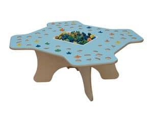 MARAMEO, Tavolo per bambini per scuole e asilo, struttura in legno