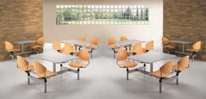 DELFI D800, Tavolo monoblocco con 4 sedie girevoli, per sale mensa