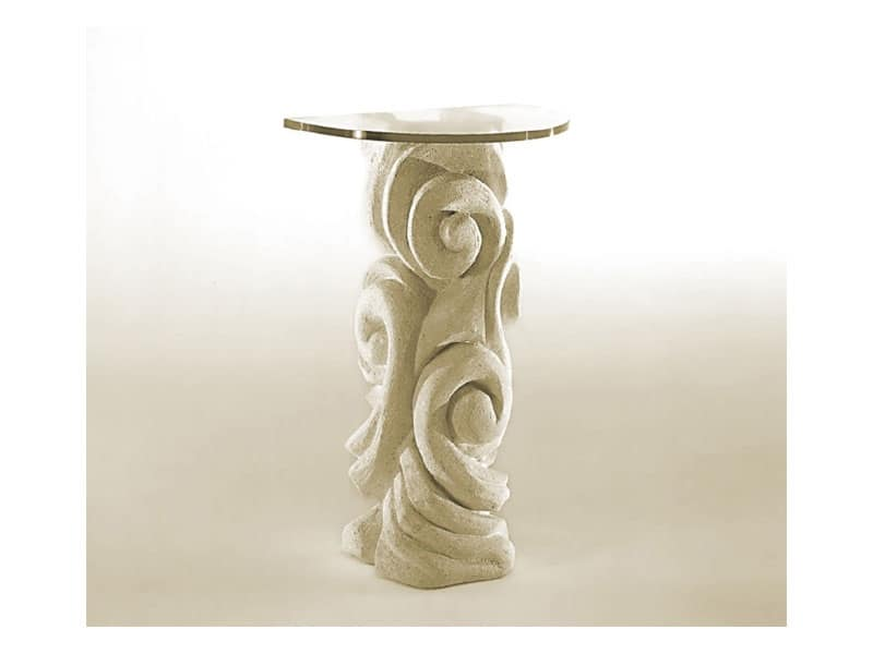 Apamea, Tavolo con colonna in pietra e piano in vetro