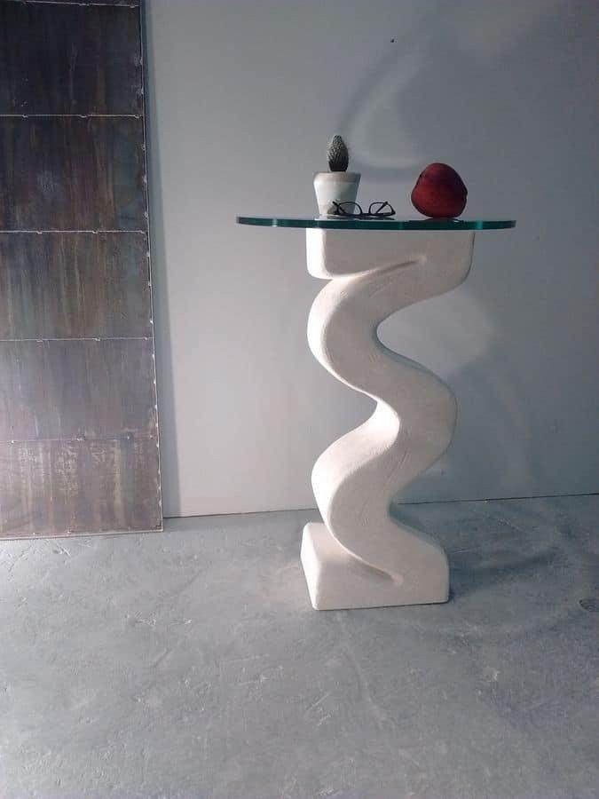 Flex, Colonna con base in pietra, piano in cristallo