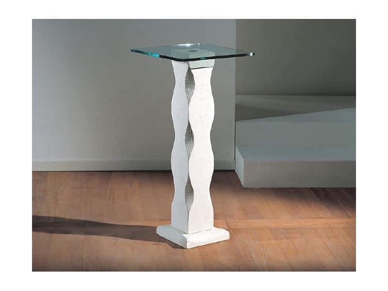 Matisse, Tavolo con colonna in pietra e piano in vetro