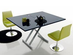 Simple 478, Tavolo moderno, pieghevole, piano in legno laccato, per bar