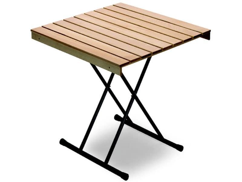 Tavolo Eva, Tavolo salvaspazio, piano in legno di faggio, per ristorante