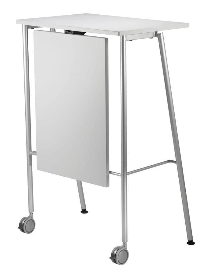 GIKO 755 + OPT, Tavolino alto con base in metallo, per uffici e scuole