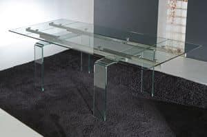 Art. 676 Glass, Tavolo con gambe e piano allungabile in vetro