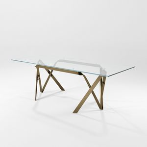 Compasso, Tavolo con piano in cristallo e struttura in lama di ferro