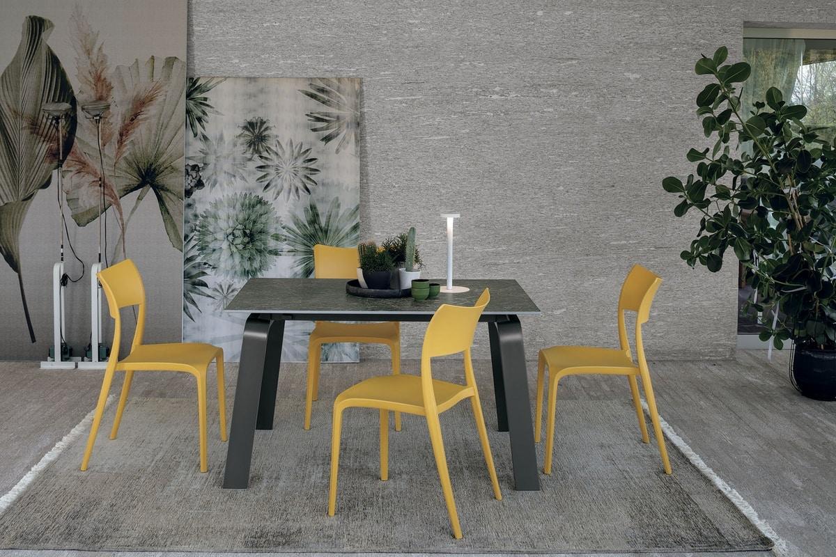 Tavolo Allungabile Struttura In Alluminio Piano In Gres Porcellanato Idfdesign