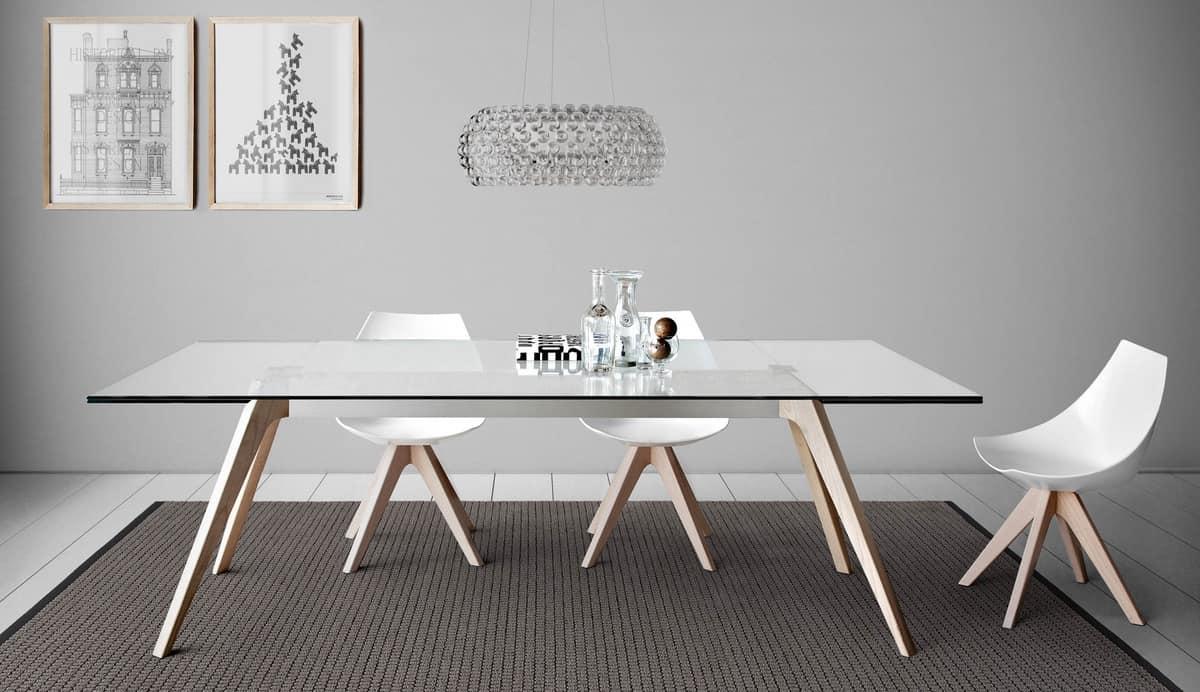 Tavolo da pranzo con piano in cristallo  IDFdesign