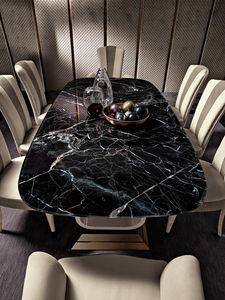 Diamond tavolo, Tavolo con piano vetro effetto marmo