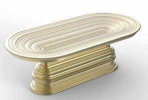 Frames Art. T07, Tavolo ovale con base decorativa oro