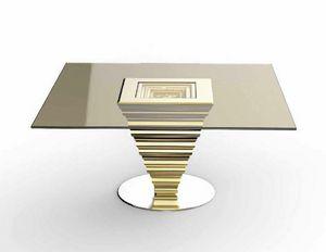 Frames Art. T13, Elegante tavolo con piano in cristallo bronzato