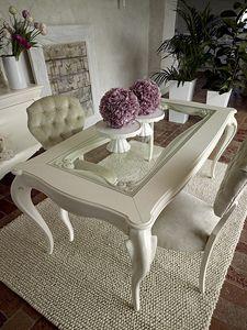 Giulietta tavolo, Tavolo da pranzo in legno bianco, con piano in vetro