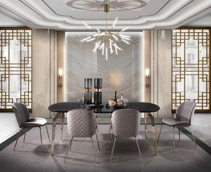 Incanto tavolo, Tavolo da pranzo con piano effetto marmo
