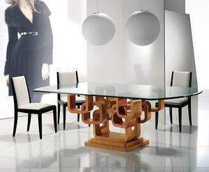TA34K Glamour tavolo, Elegante tavolo con piano in vetro