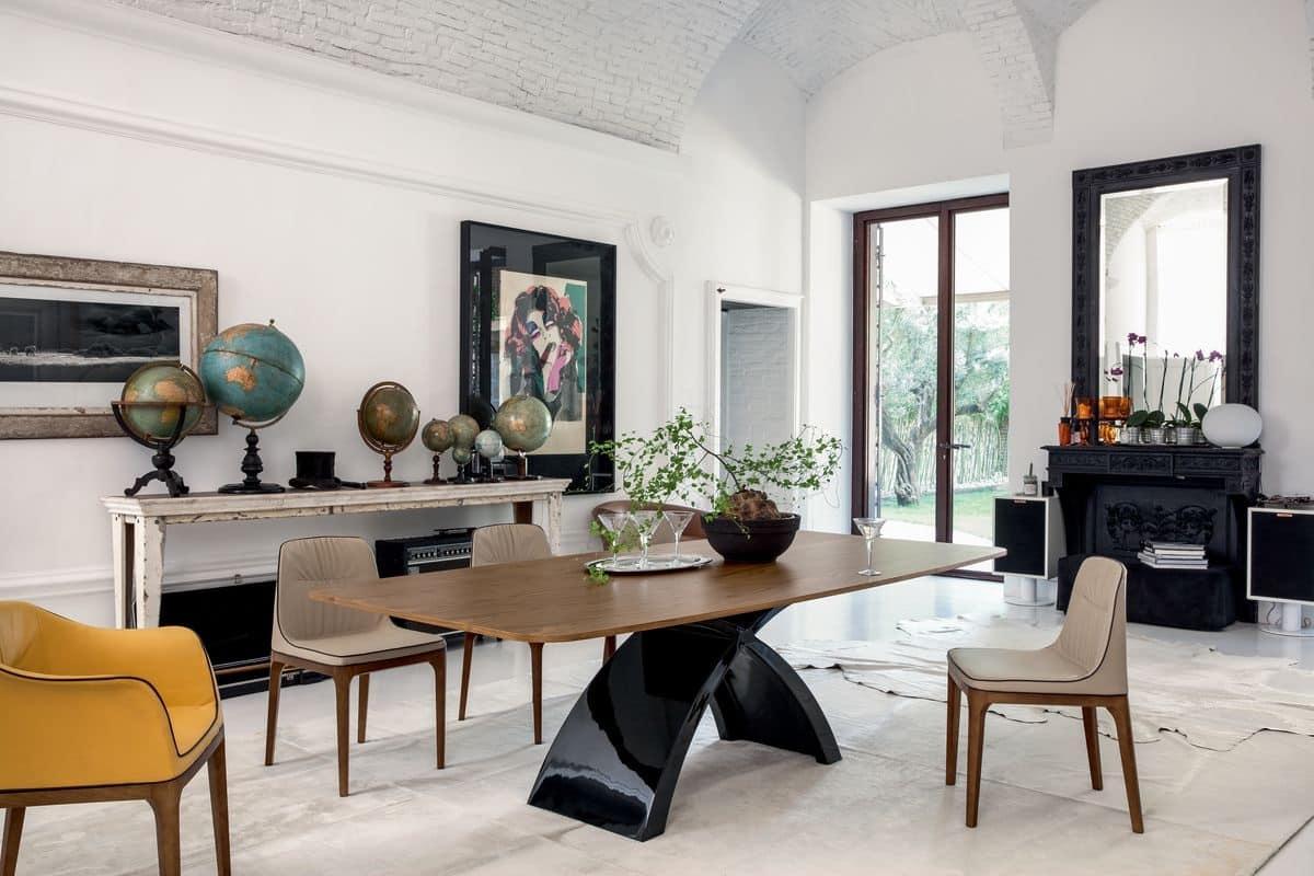 TOKYO, Tavolo allungabile o fisso, con top in vetro, legno, marmo o ceramica