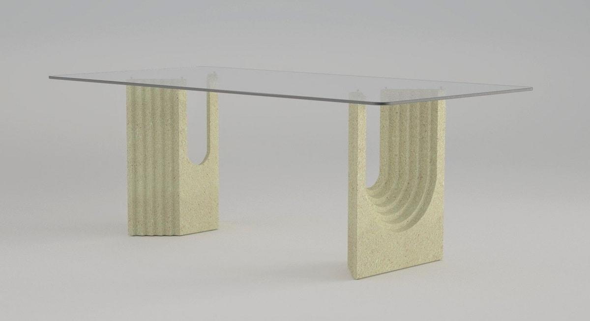 Tavolo da pranzo con base in pietra | IDFdesign