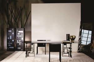 Velasca Rettangolare, Tavolo moderno in metallo, con piano in cristallo, ideale per sala da pranzo