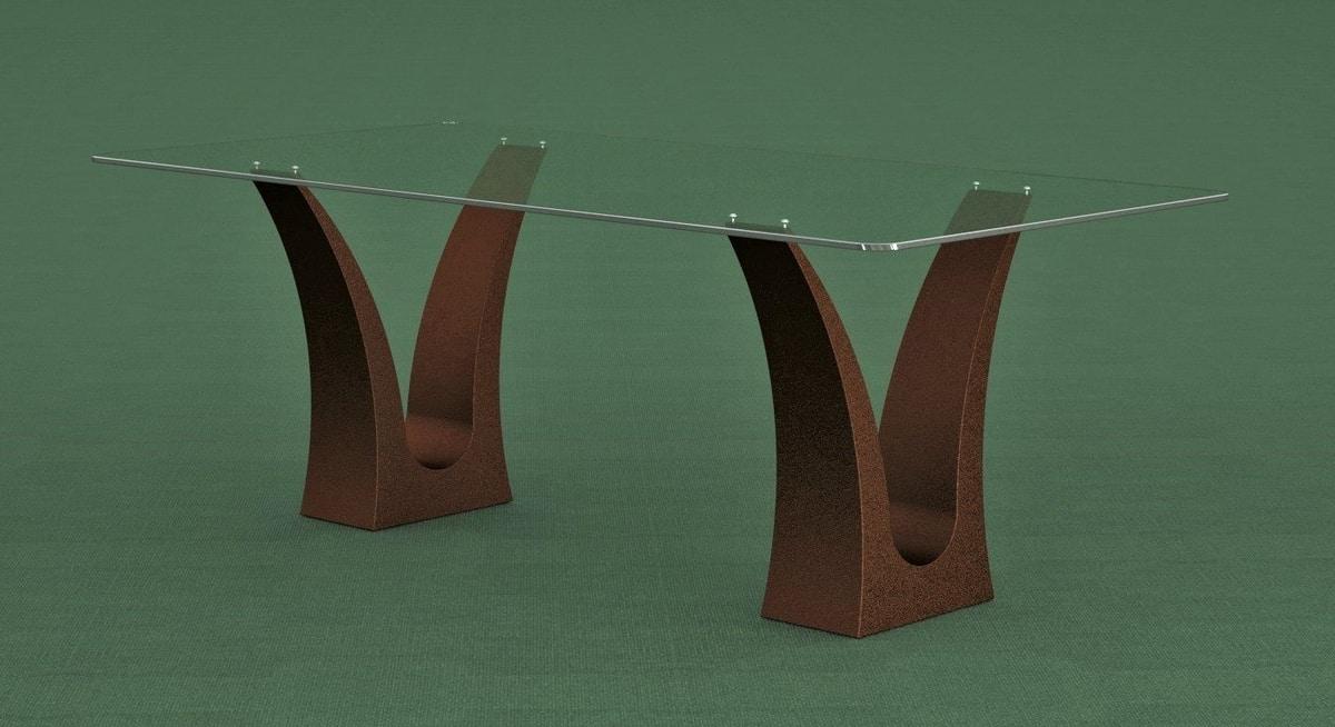 Tavolo da pranzo con doppia base in pietra | IDFdesign
