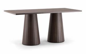 CORDOBA TABLE 082 D H75, Tavolo rettangolare con doppia base conica