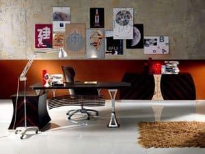 SC19 Cartesio scrivania, Scrivania direzionale in ebano, per Ufficio