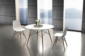 Art. 644 Shell Table, Tavolo rotondo da cucina, con piano in laminato
