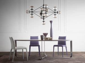 Confluence ovale, Tavolo con piano ovale, elegante base in acciaio