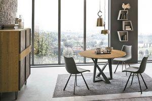 CRONOS wood TP1B0, Tavolo con piano tondo in legno