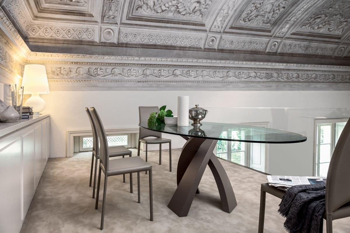 Tavolo da pranzo con piano tondo in vetro, per ristorante  IDFdesign