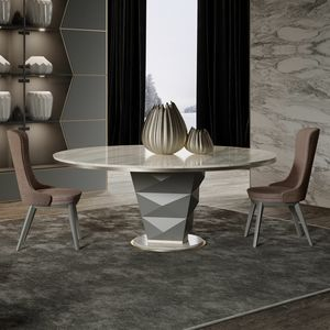 Erik Art. 206-RT9M, Tavolo tondo con piano in marmo