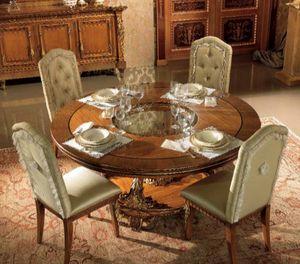 Esimia tavolo, Tavolo da pranzo tondo, con intagli artigianali