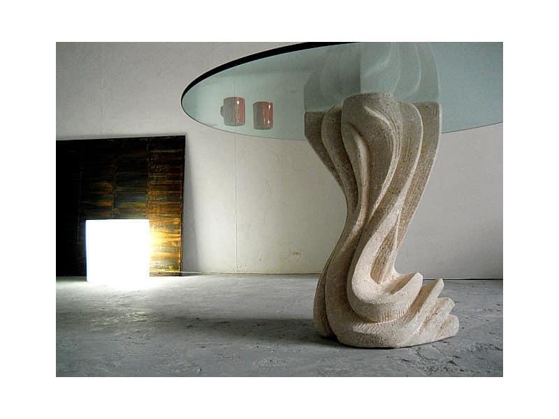Essenza round, Tavolo con colonna portante in pietra, rotondo o quadrato