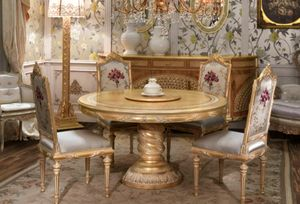 Lariana tavolo tondo, Tavolo da pranzo tondo, in stile classico