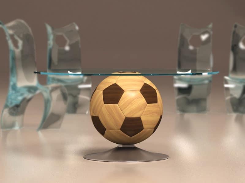 Mundial, Tavolino tondo con base in legno a forma di pallone, piano in vetro
