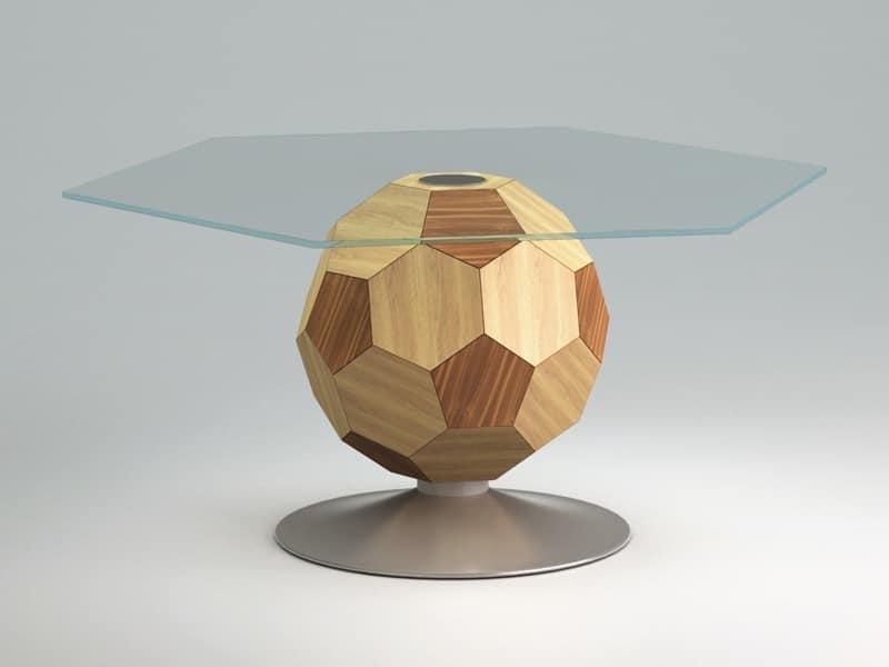 Mundial top, Tavolno per centro sala, piano in vetro, fusto in legno