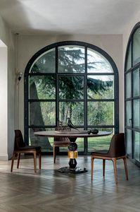 PANDORA TABLE, Tavolo con struttura multimaterica e piano in legno