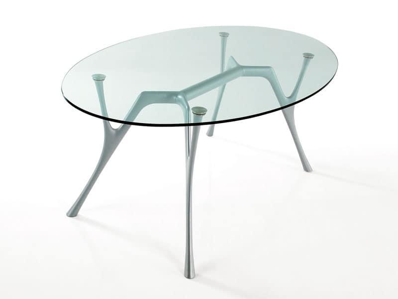Pegaso, Tavolo ovale in alluminio con piano in vetro, per salotti