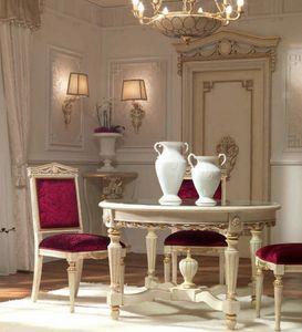 San Pietroburgo Art. TAV02/DIAM.122, Tavolo stile classico, con piano tondo in cristallo